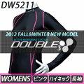 【DOUBLE3(ダブルスリー/ダブル3)】レディース(WOMENS)DW-5211PKロングスリーブハイネックブラック/ピンクロゴ入り(DW5211PK)