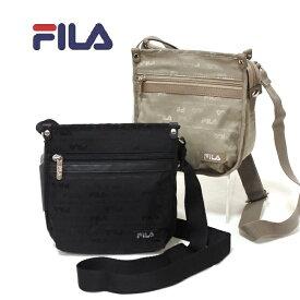 FILA[フィラ] ナイロンショルダーバッグ ジャガード 7337 ブラック ベージュ レディース 軽い 小さいサイズ ポケット多い 斜め掛け
