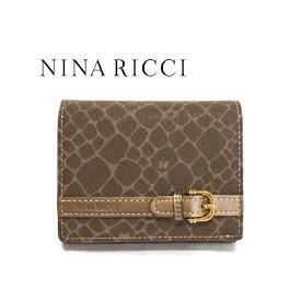 NINA RICCI ニナリッチ 財布 二つ折り ボックス型小銭入れ ブロンズ レディース box 四角 札入れ さいふ サイフ