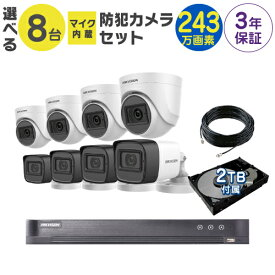 マイク付き 監視カメラ 防犯カメラ 屋外 用 屋内 用 から 8台 選択 防犯カメラセット 監視カメラセット 8ch ハードディスクレコーダー/HDD 2TB 付属 200万画素 TVI FIXレンズ 赤外線付き バレット型 ドーム型 カメラ 遠隔監視可