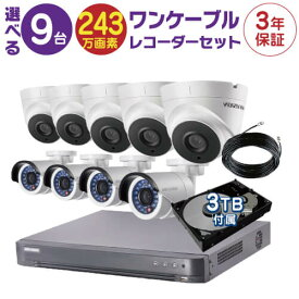防犯カメラ 監視カメラ 9台 屋外用 屋内用 から選択 防犯カメラセット 監視カメラセット 16ch HD-TVI ワンケーブル 録画機 /HDD3TB付属 FIXレンズ 赤外線付き バレット型 ドーム型 ワンケーブルカメラ 遠隔監視可