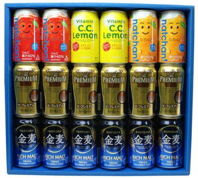 ■【送料無料】ザ・プレミアム・モルツ、金麦、CCレモン等の清涼飲料水 ファミリー向け サントリー ビール&ジュース 18本詰め合わせギフトセット