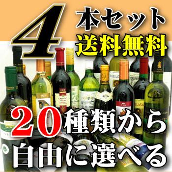 ☆世界のワイン20種類から選べる4本で送料無料!!1本あたり770円(税別)選んでも良し!!おまかせでもOK!! ※6本箱使用の為、ギフト対応できません。