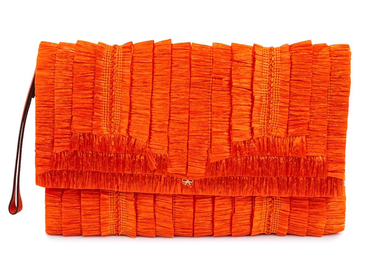 【送料無料】 ANYA HINDMARCH アニヤ・ハインドマーチ 80%OFF クラッチバッグ 5050925791137 Ebenezer Small Clutch in Clementine Raffia Fringe オレンジ レディース 日本正規品