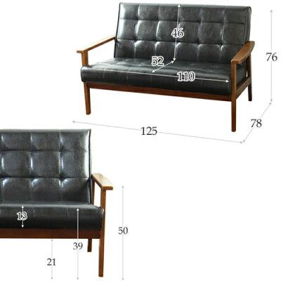 一人掛けソファ木製フレームヴィンテージ調一人掛けベンチソファハイバックソファフロアソファソファーパーソナルチェアいすソファチェア合成皮革ひとりアンティークレザー調カフェ椅子アンティーク調レトロシンプル北欧おしゃれブラック黒