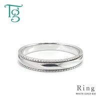 マリッジリング結婚指輪メンズリングホワイトゴールドK10ミル打ちシンプルおしゃれ偶数サイズ指輪【納期約4週間】