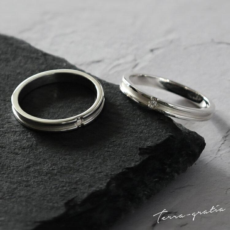 ペアリング 刻印 シルバー ダイヤモンド シンプル クロス 艶消し マットライン 上品 おしゃれ 指輪 偶数サイズ マリッジリング 結婚指輪 Silver 925 2本セット価格