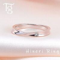 リングレディースピンクシルバー刻印ダイヤモンドシンプルひねりメビウス細身上品おしゃれ指輪偶数サイズピンクゴールドカラーSilver