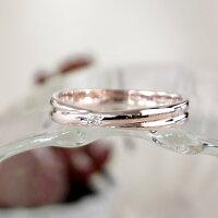 リングレディースピンクシルバー刻印ダイヤモンドシンプルクロスラインXライン細身上品おしゃれ指輪偶数サイズピンクゴールドカラーSilver