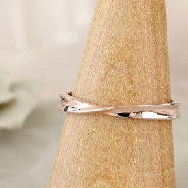リング レディース ピンクシルバー 刻印 シンプル ひねり メビウス 細身 上品 おしゃれ 指輪 偶数サイズ ピンクゴールドカラー Silver