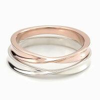 ペアリング刻印シルバーピンクシルバーシンプルひねりメビウス細身上品おしゃれ指輪偶数サイズマリッジリング結婚指輪Silver925送料無料2本セット価格