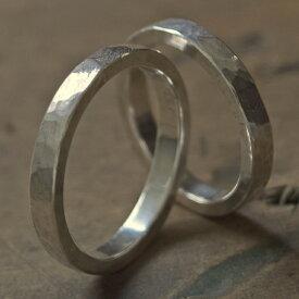 ツチめのリング(細) ペアリング ハンドメイド オーダー シルバー 槌目 シンプル 上品 おしゃれ 指輪 Silver 950 マモる