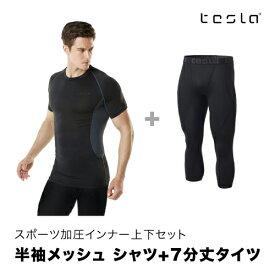 [TESLA] テスラ スポーツシャツ メンズ お得な2点上下セット 半袖メッシュ 7分丈タイツ MUB73/MUC18 SET