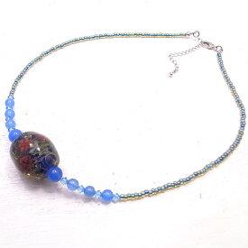 レースガラス ガラス トンボ玉 ネックレス ブルーアゲート 青 スワロフスキー ガラス/とんぼ玉 【ガラスアート COOL】