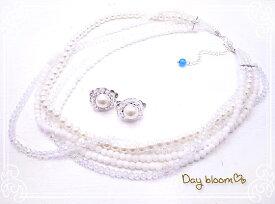 サムシングブルー ネックレス&イヤリング ウエディングアクセサリーセット☆ Day bloom♪ db-12