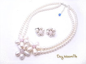 サムシングブルー ネックレス&イヤリング ウエディングアクセサリーセット☆ Day bloom♪ db-2