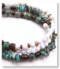 de-51-33 土耳古石・ハウ石 3重巻腕輪 天然石ブレスレット Mamma Miya[マンマミーヤ] 天然アクセサリー