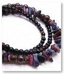 de-51-36 紅玉・青玉・黒瑪瑙 3重巻腕輪 天然石ブレスレット Mamma Miya[マンマミーヤ] 天然アクセサリー