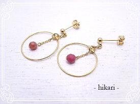 hk-10 ルビーとチェーンのフープピアス -hikari-ひかり [天然石アクセサリー]