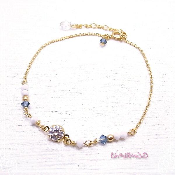 Ch*eM+W:D[チェムダブリュディー]COLOR swarovski Bracelet【blue】 ファッションアクセサリー de-47-ch-b3