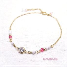 Ch*eM+W:D[チェムダブリュディー]COLOR swarovski Bracelet【pink】 ファッションアクセサリー de-47-ch-b5