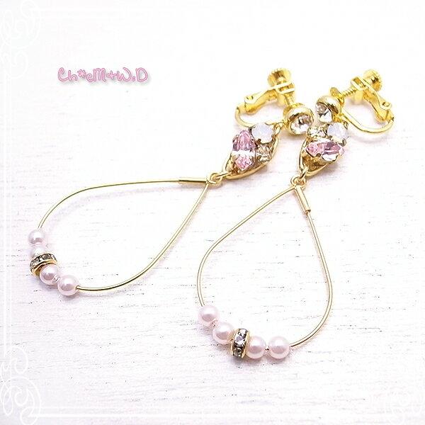 Ch*eM+W:D[チェムダブリュディー] BABYPINK x PINK pearl Earring ファッションアクセサリー de-47-ch-e11