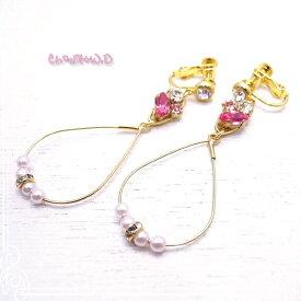 Ch*eM+W:D[チェムダブリュディー] ROSEPINK x PINK pearl Earring ファッションアクセサリー de-47-ch-e11