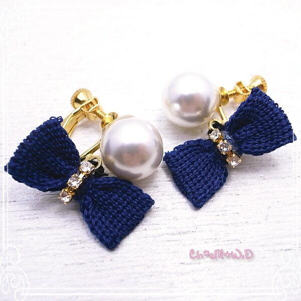 Ch*eM+W:D[チェムダブリュディー]Knit Ribbon Earring ファッションアクセサリー de-47-ch-e18