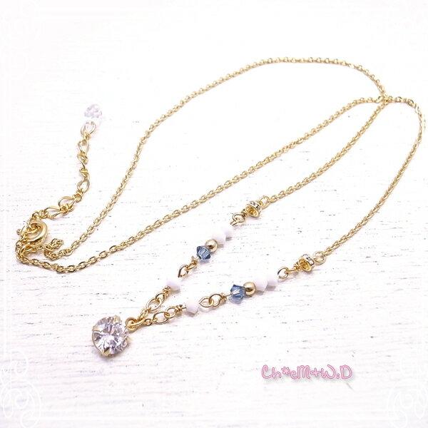 Ch*eM+W:D[チェムダブリュディー]COLOR swarovski Necklace【blue】 ファッションアクセサリー de-47-ch-n5