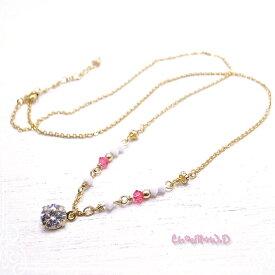 Ch*eM+W:D[チェムダブリュディー]COLOR swarovski Necklace【pink】 ファッションアクセサリー de-47-ch-n7