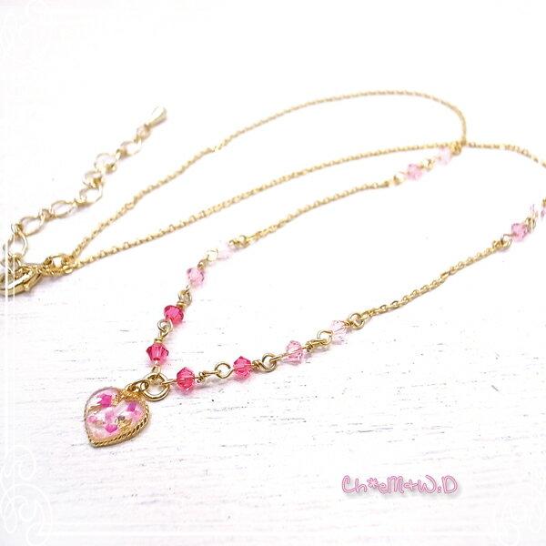 Ch*eM+W:D[チェムダブリュディー] PINK heart Necklace ファッションアクセサリー de-47-ch-n9