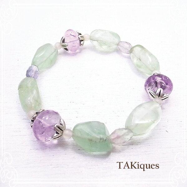 【TAKiques】アメジスト&フローライトブレスレット アンティークビーズ/ガラス/天然石/ブレスレット/ビンテージ de-74-tq-046
