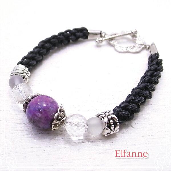 紫の瞳 天然石 ブレスレット ブレス アクセサリー 作家 ハンドメイド 【Elfanne】