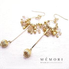 イヤリング サークルリング Circle with a drop pierced earring / Clear x Gold 【MEMORI STUDIO】