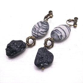 ゼブラジャスパーとテクタイトのイヤリング 天然石 【Kasumi〜かすみ〜】
