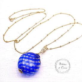 Long Chain Necklace Capri ロングネックレス ベネチアンビーズ 【Atelier il Cuore [ クオーレ ]】 アクセサリー/ハンドメイド/作家