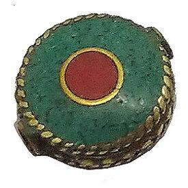 【ネパールビーズ】 ターコイズ/コーラル (合成石) 真鍮ビーズ 《10個セット》 キセキ-リリ kiseki-riri エスニックパーツ