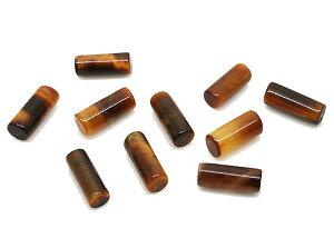 タイガーアイ 【天然石パーツ】 円柱スティックパーツ いろいろなパーツ 約10x4mm 《10個》