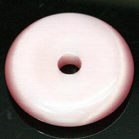 キャッツアイ ピンク 【合成石 ピーディスク】 25mm ムナイキ 《1枚》 ドーナツ Pディスク 天然石