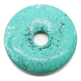 ターコイズ染め 【ピーディスク】 40mm ムナイキ 《1枚》 ドーナツ Pディスク 天然石