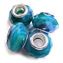 【在庫限り】ガラスロンデルビーズ 4個セット 外径14mm/穴径5mm ターコイズブルーx赤系 アクセサリー パーツ gl-p-01