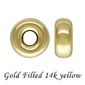【10個】14Kイエロー ゴールドフィルド ロンデルビーズ 4mm/穴径1.2mm gold filled K14GF 14KGF アクセサリーパーツ 金具 fb18-14y-4