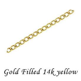 ゴールドフィルド 【キヘイチェーン】 ネックレスチェーン 《40cm》 完成品 14Kイエロー 線形 T1.5mm 14KGF
