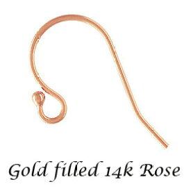 【5ペア】14Kピンク ゴールドフィルド ローズ ピアスフックパーツ 約 L20mm goldfilled K14GF 14KGF アクセサリーパーツ 金具 fe01-14p
