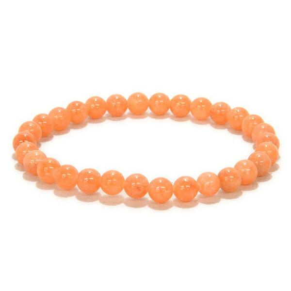 オレンジカルサイト 6mm 【1点もの ブレスレット】 天然石 パワーストーン
