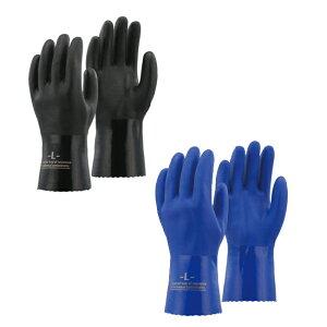 【5双セット】 A-207 PVC オイル レジスタンド グローブ | 手袋 てぶくろ 油 摩耗 機械作業 土木 自動車 自動車整備 機械 加工 機械加工 工場 工業 滑らない ビニール 手袋 お徳用 綿100% 青 黒 ブ
