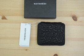 marimekko(マリメッコ)『PETRA』 型押しレザー財布(色:ブラック)※日本正規取扱店 送料無料