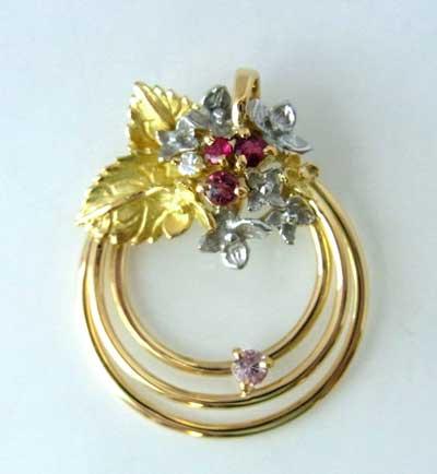 【送料無料】マルチカラーが美しいK18,K18WGと小粒のダイヤのフラワーペンダントトップSHP6156