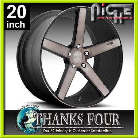 NICHE MILAN(ニッチェ ミラン)MACHINED BALCK(マシーンドブラック)フォード マスタングレクサス GS IS SCスカイライン クーペ フェアレディZ5Hx114.3【20インチアルミホイールタイヤ付き4本セット】