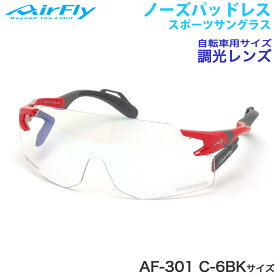 エアフライ AirFly サングラス AF-301 C-6BK 調光 ノーズパッドなし スポーツ 特許取得 ずれない 軽い アウトドア 登山 キャンプ メンズ レディース